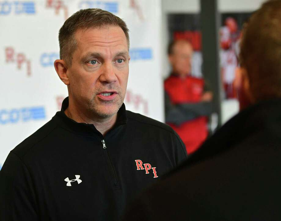 Rensselaer Polytechnic Institute hockey coach Dave Smith talks to the media after finding out they had to pull their team out of the ECAC Tournament on Thursday, March 12, 2020 in Troy, N.Y. RPI's hockey team is now done for the season. (Lori Van Buren/Times Union) Photo: Lori Van Buren, Albany Times Union / 40049044A