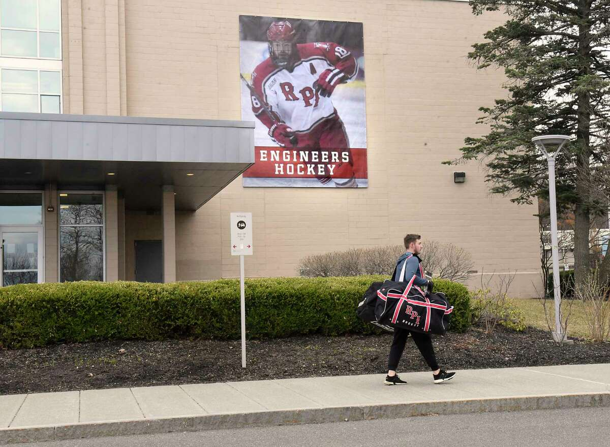 Rensselaer Polytechnic Institute freshman hockey player Simon Kjellberg is seen leaving the Houston Field House with all his equipment at RPI on Thursday, March 12, 2020 in Albany, N.Y. RPI's hockey coach Dave Smith talked to the media after finding out they had to pull their team out of the ECAC Tournament RPI's hockey team is now done for the season. (Lori Van Buren/Times Union)