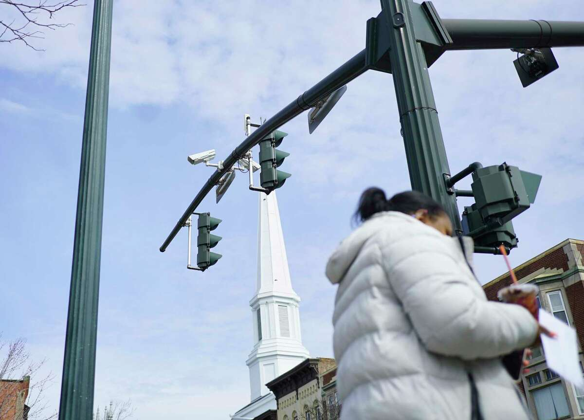 A view of police surveillance cameras near the traffic lights at the corner of Congress Street and 3rd Street on Thursday, March 12, 2020, in Troy, N.Y. The city plans to install new cameras in other areas of the city. (Paul Buckowski/Times Union)