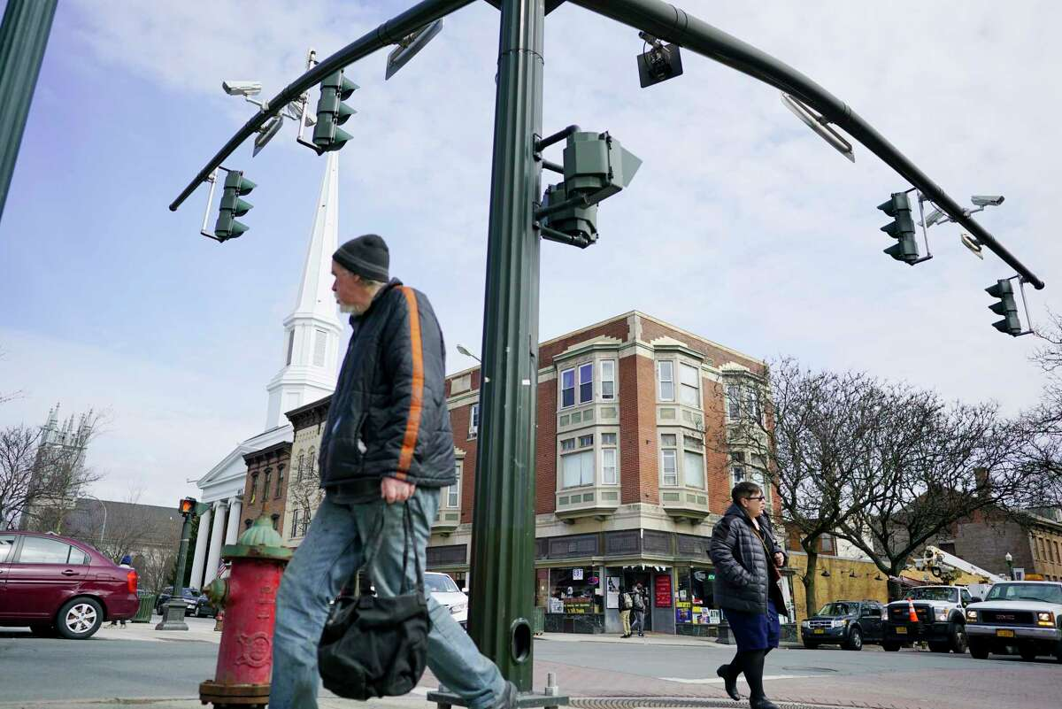 A view of police surveillance cameras up near the traffic lights at the corner of Congress Street and 3rd Street on Thursday, March 12, 2020, in Troy, N.Y. The city plans to install new cameras in other areas of the city. (Paul Buckowski/Times Union)