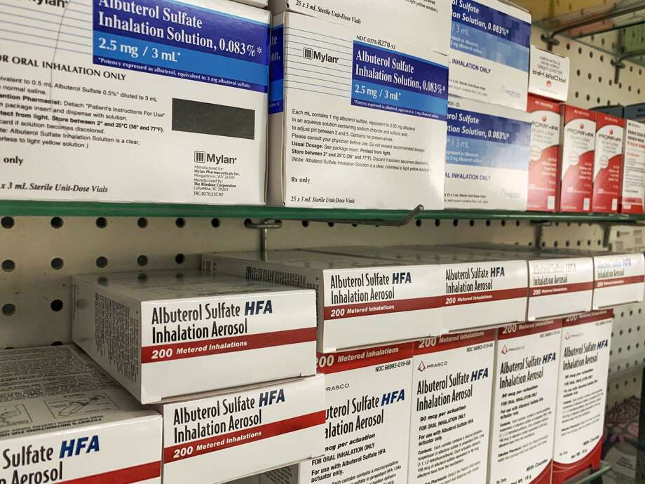 Albuterol inhalers stocked up in case of a backorder at Grieb's Pharmacy in Darien. The store also has an over supply of Tamiflu in adult and pediatric doses, as well as other prescription items. Photo: Contributed Photo / / Connecticut Post