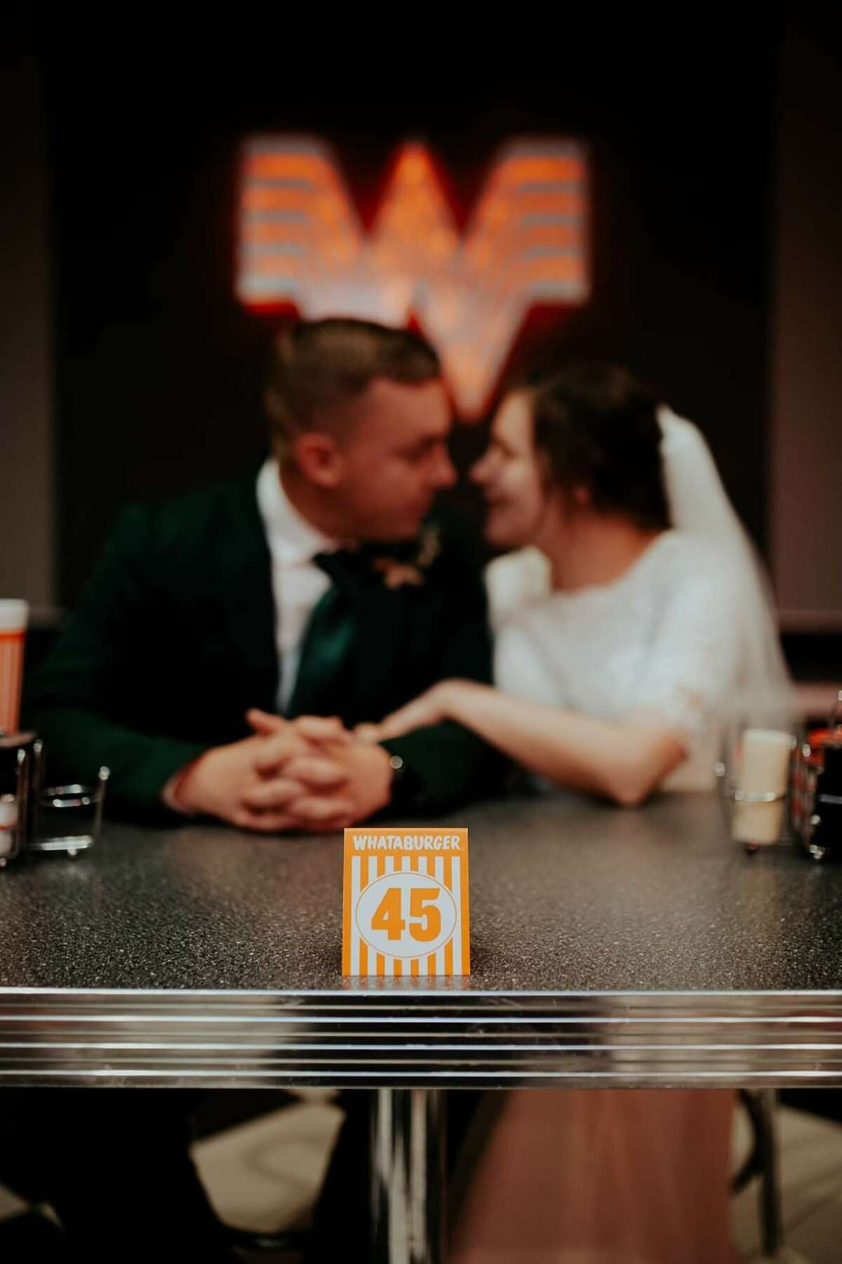 Three years after meeting at Whataburger, a couple from Tyler returned to the fast-food chain on their wedding day to remember where it all started.