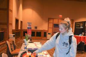 More than 30 exhibitors were set up ready to talk with youth at the Business and Career Expo at Little River Casino Resort in Manistee Thursday morning. Part of the goal for the expo is to connect students with employers and opportunities in the area. Career representatives were at the expo to showcase careers, skills and possibilities for 10-12th-grade students from all area high schools. The chamber also partnered with the Launch Manistee Network, which helps connect the schools with the event and preps the students who will be in attendance. About 400 students from Manistee County attended at various times throughout the morning.
