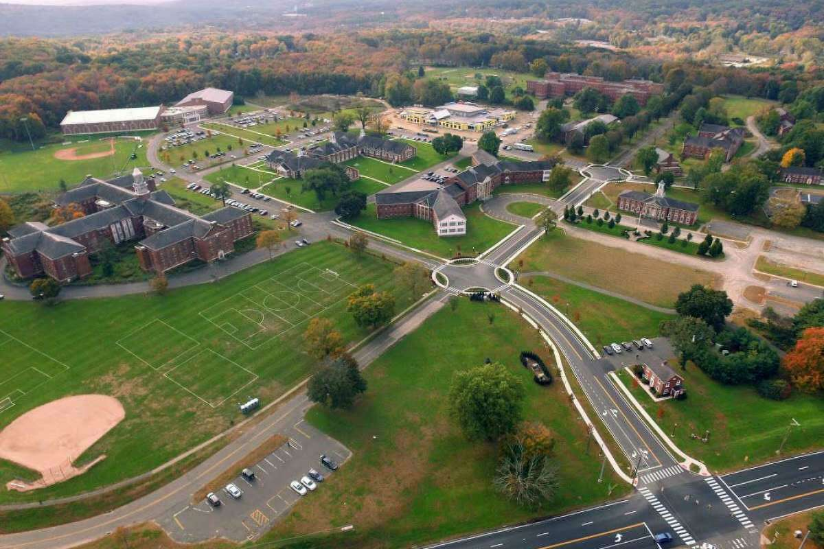 A recent aerial photograph of the Fairfield Hills campus in Newtown.