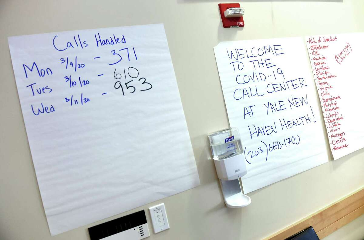 A tally sheet listing the number of daily calls is displayed at the Covid-19 call center at Yale New Haven Hospital on March 12.