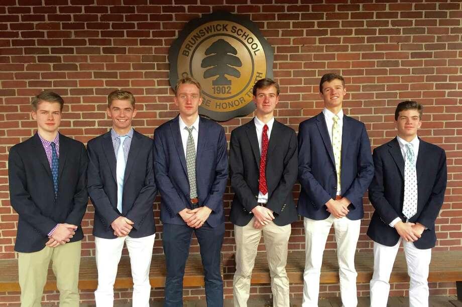 From left to right, Brunswick squash players Pierce Henderson, Brian Leonard, Dana Santry, Nick Spizzirri, Mac Aube and Patrick Keller, each earned All-NEPSAC Team honors. Photo: Contributed Photo