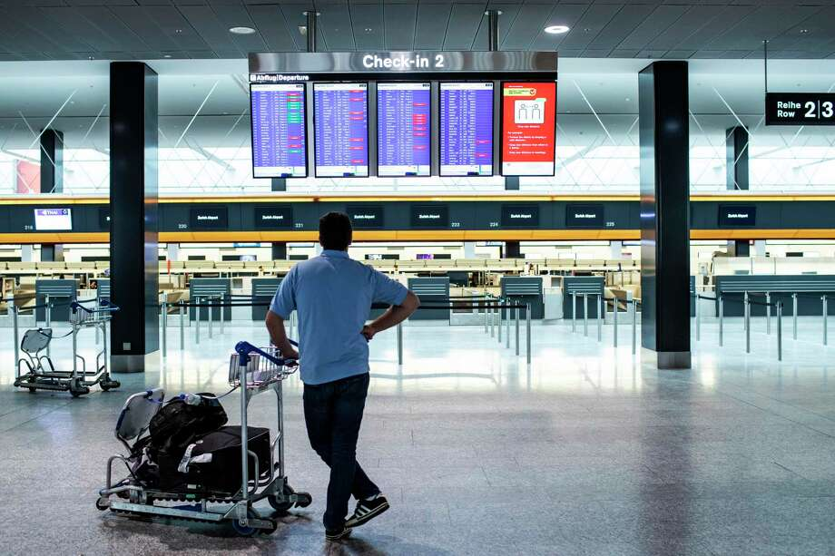 Switzerland's Zurich Airport on March 10, 2020, the day before President Donald Trump announced a 30-day ban on visitors entering the United States from most European countries save the United Kingdom. Photo: Alexandra Wey / Associated Press / Keystone