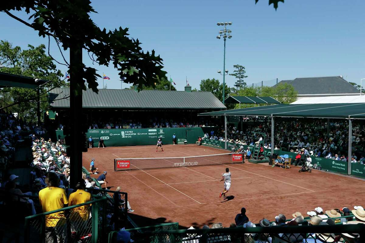 Christian Garin returns a shot from Casper Ruud in the third set during the singles finals of the US Men's Clay Court Championships at River Oaks Country Club last year. This year's event was canceled.