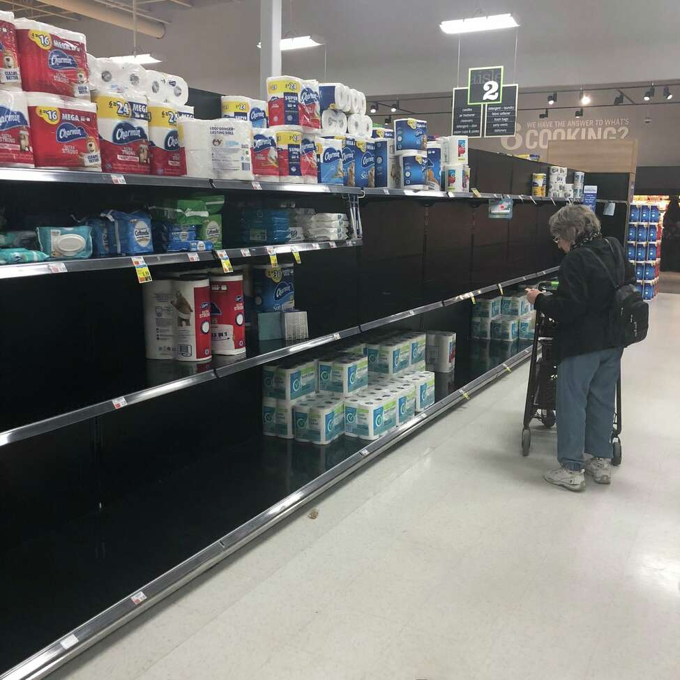 The toilet paper aisle at Market 32 on Ballston Avenue in Saratoga Springs, N.Y. on Thursday, March 12, 2020.