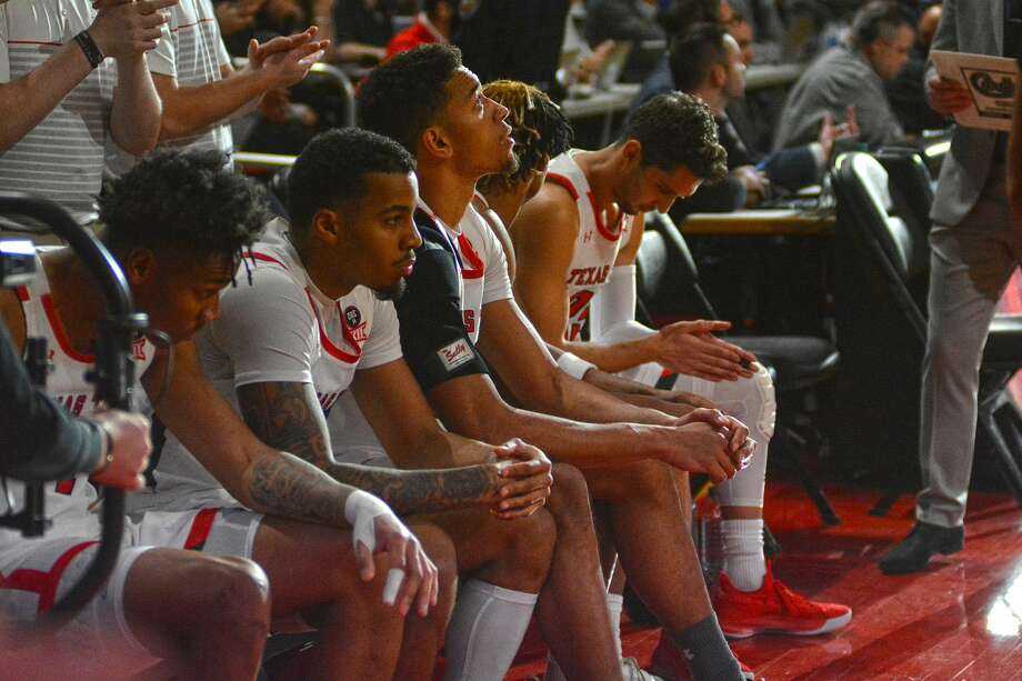 Texas Tech men's basketball players wait to be introduced before a Big 12 Conference game against West Virginia on Jan. 29, 2020 in the United Supermarkets Arena. Photo: Nathan Giese/Planview Herald