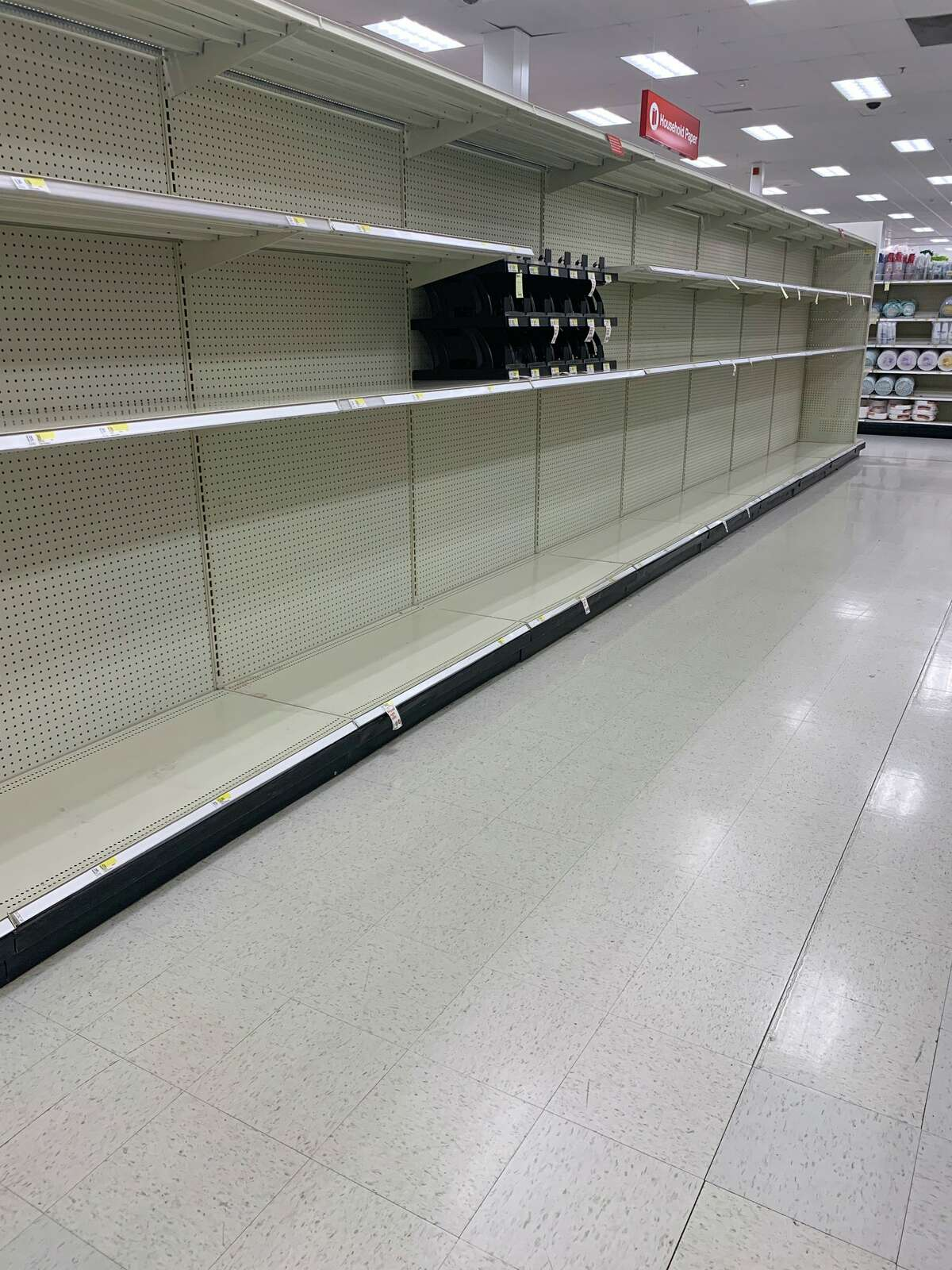 The toilet paper aisle at Target in Colonie, N.Y. on Thursday, March 12, 2020.