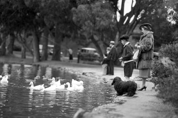 model sailboats out on Spreckels Lake in Golden Gate Park, July 18, 1937