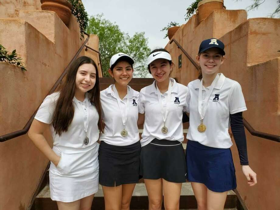 Alexander placed second in a one-day tournament Thursday at the Max A. Mandel Municipal Golf Course led by Emily Edmond, right, who won the individual title. Photo: Courtesy Of Alexander Athletics