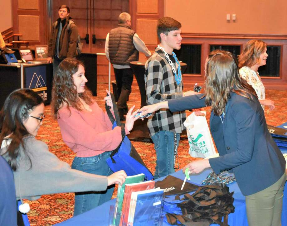 About 400 Manistee County students attended the Business and Career Expo at Little River Casino Resort and visited exhibitor tables connecting with local businesses and leaders Thursday. (Arielle Breen/News Advocate)