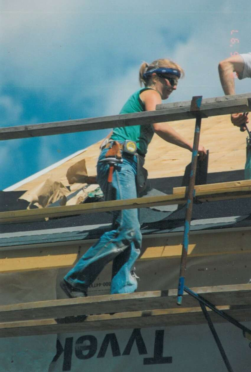 Margie Miller working on a house for Habitat for Humanity in 1997 as a self-employed carpenter. (Photo provided)