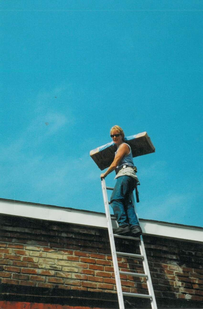 Margie Miller working as a self-employed roofer in 1998. (Photo provided)