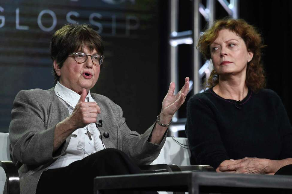 PASADENA, CA - JANUARY 14: Sister Helen Prejean, activist and author of ?Dead Man Walking? (L) and actress and activist Susan Sarandon speak onstage during Discovery Communications Winter TCA Event on January 14, 2017 in Pasadena, California.