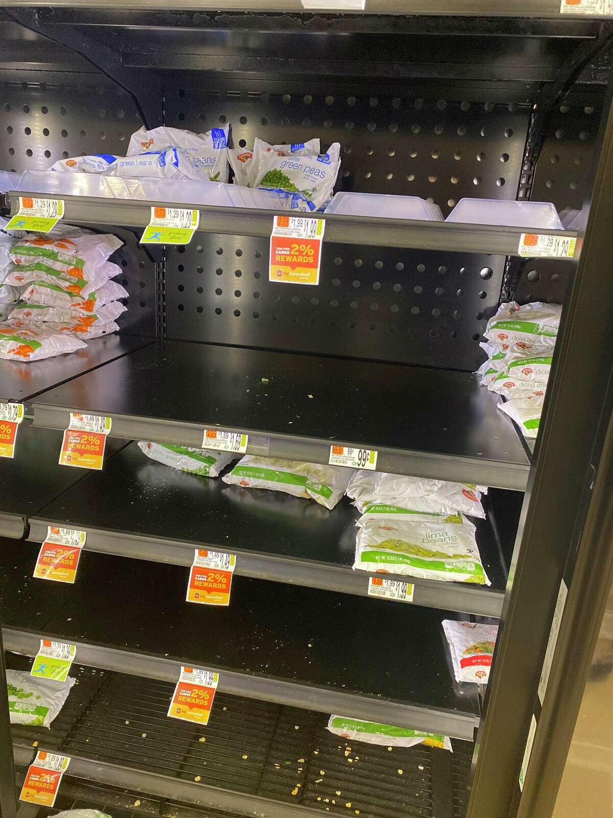 Frozen foods running low at Hannaford Supermarket in Delmar, N.Y.