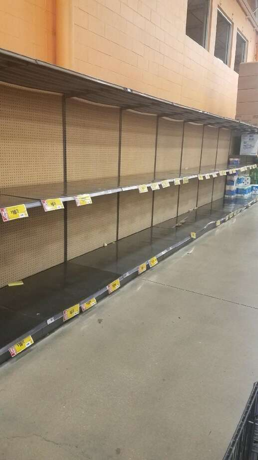 An empty rack of where toilet paper is supposed to be at an H-E-B in Alamo Ranch. Photo: Christina Aguirre