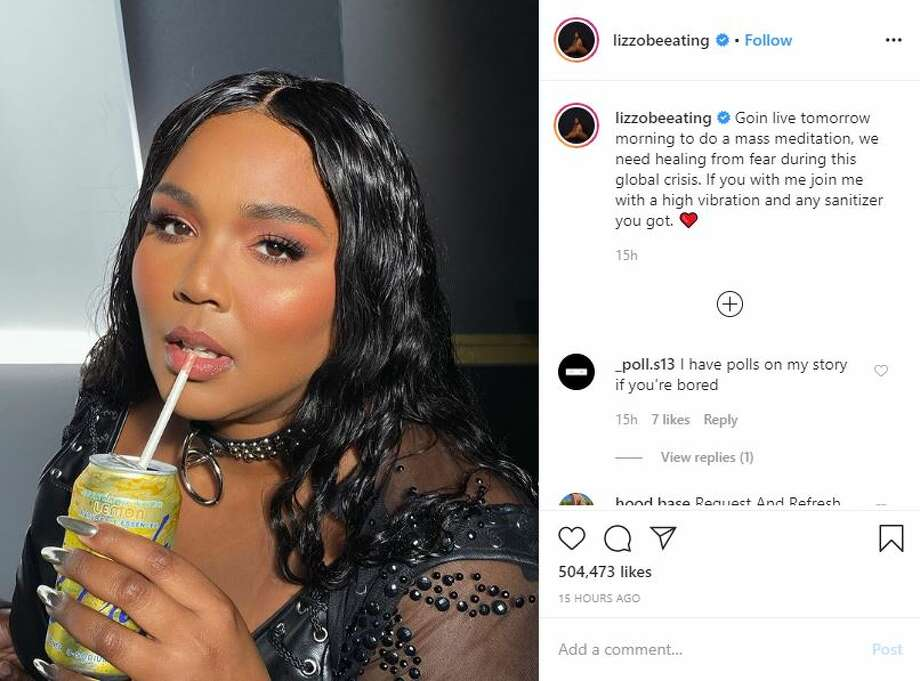 Lizzo chimed in on Instagram Thursday with a beautiful, body-positive selfie, urging her fans to calm their coronavirus fears. The singer announced a live Instagram meditation. Photo: Instagram