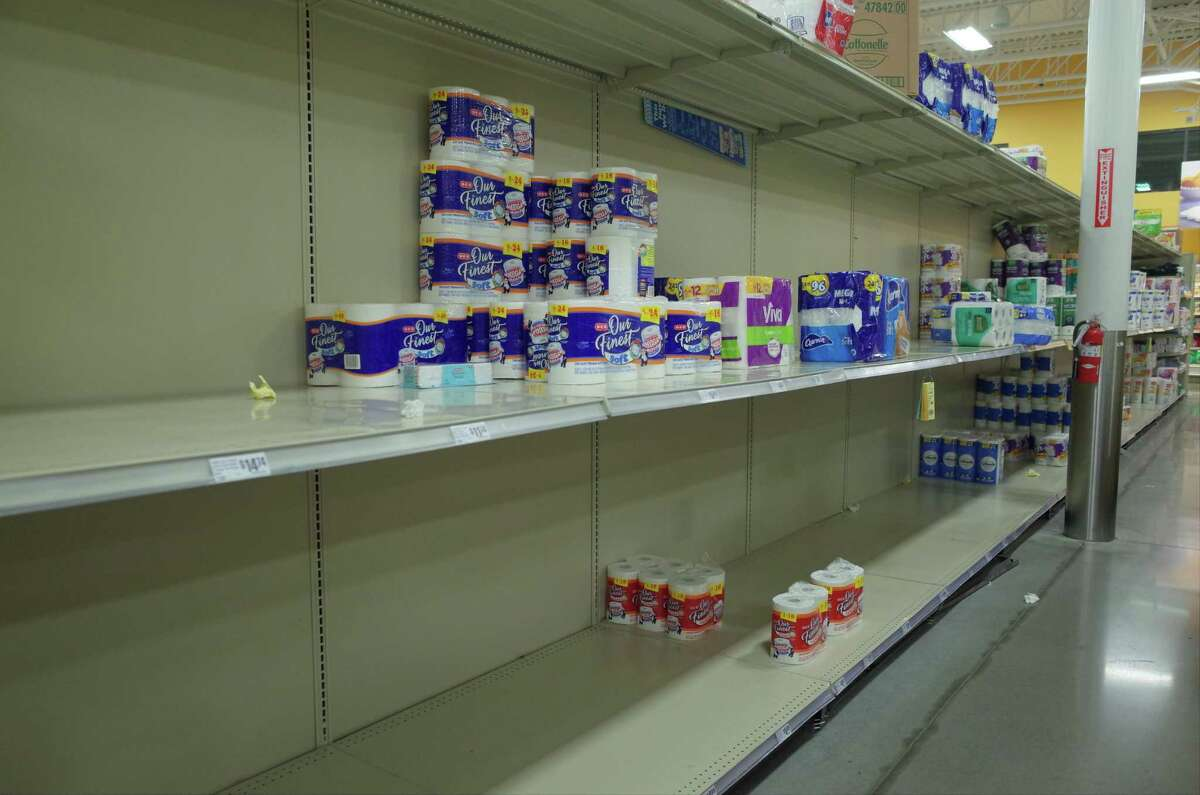 Shelves of canned and dry goods, toilet paper and hand sanitizer were sparse at a H-E-B store in Cypress on Monday evening, March 2, 2020. Some consumers, worried about potential quarantines and supply disruptions caused by the coronavirus, are stockpiling household essentials.