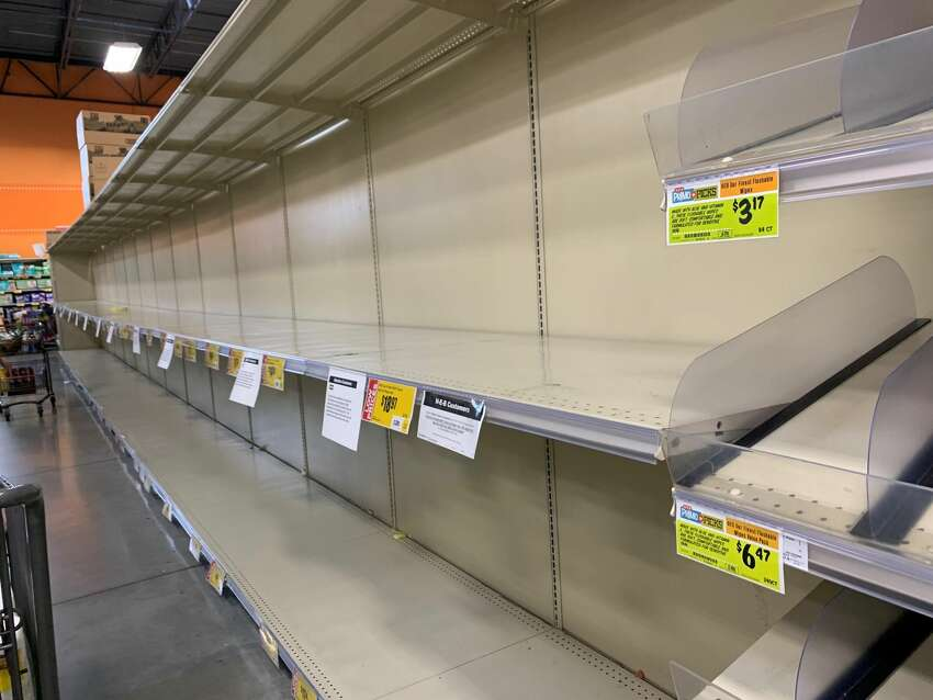 A mySA.com reader took a picture of an empty toilet paper rack at the H-E-B on Kitty Hawk and 1604 on March 12.