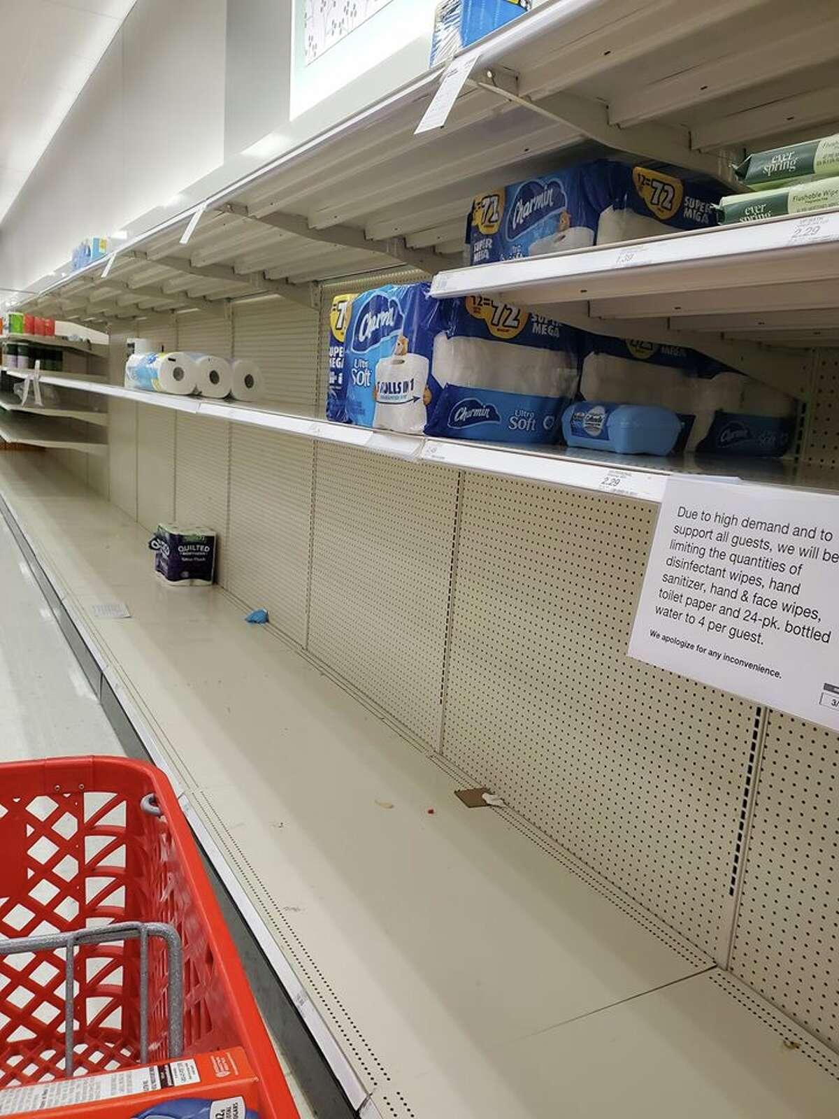 Empty racks at a San Antonio Target. March 13, 2020.