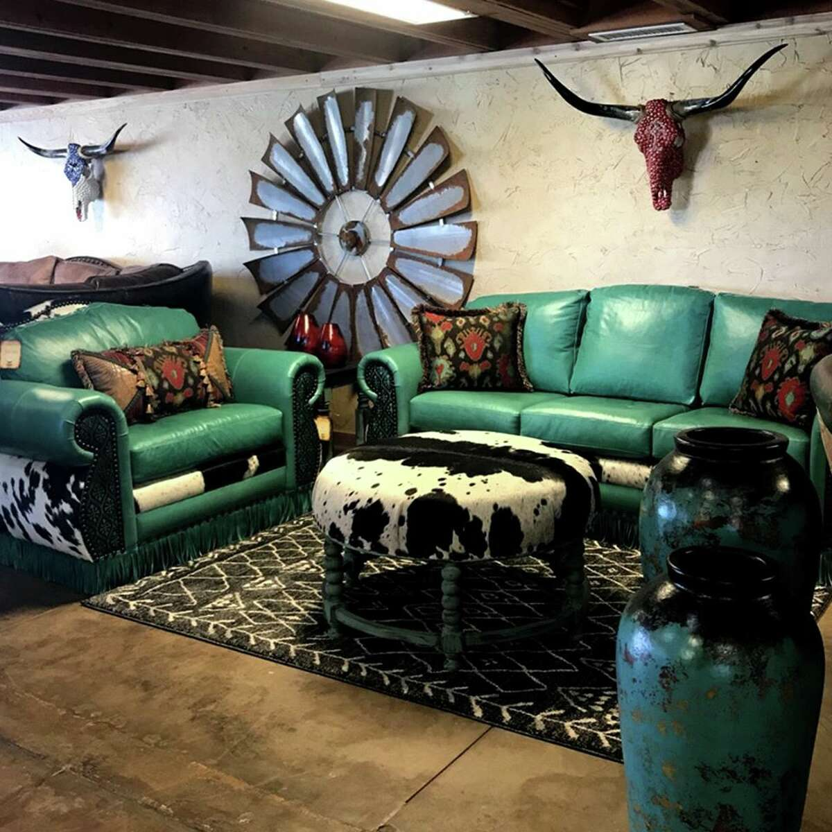 Cowhide Western Furniture Co.Custom wood and leather furniture Photo courtesy: Cowhide Western Furniture Co./Facebook