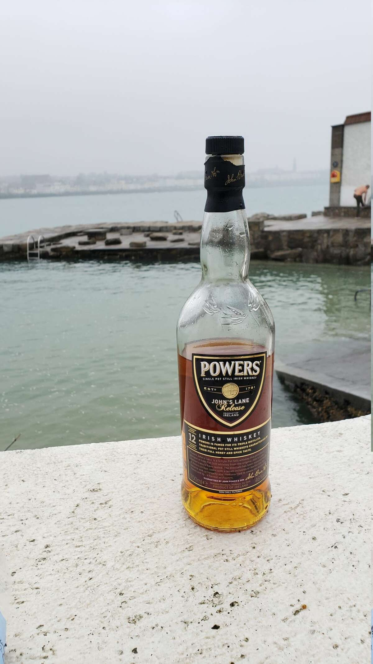 Powers John's Lane whiskey is enjoyed before and after a brisk morning dip in Dublin Bay. Consider keeping a bathing suit handy while traveling through Ireland, as taking a frigid dip in briny Irish waters is popular among locals at all times of year. Offering a nip of whiskey to strangers you encounter is a fast way to make new friends and get inside knowledge on the best places to dine and drink at or visit.