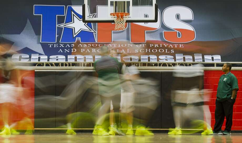 Players with The Woodlands Christian Academy warm up before the TAPPS 4A state championship game at West High School, Friday, March 1, 2019, in West. Photo: Jason Fochtman, Staff Photographer
