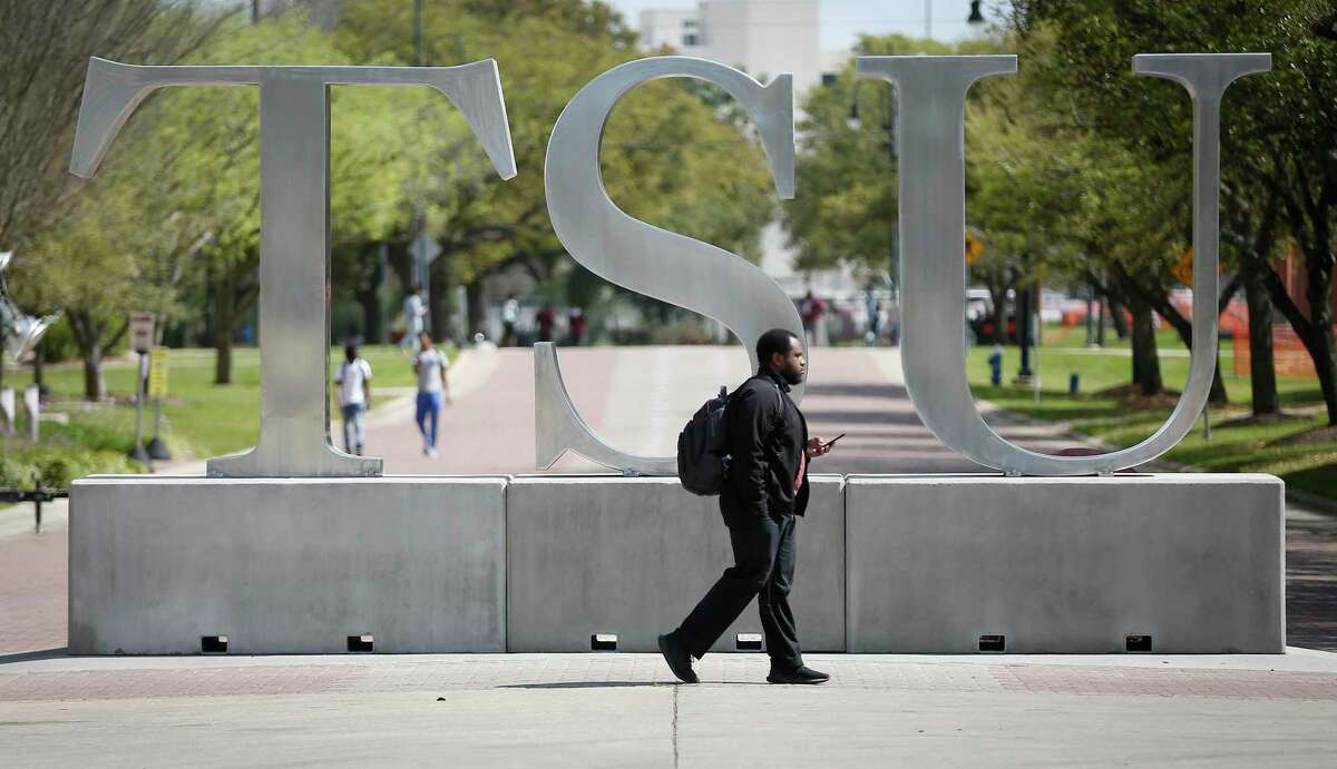 A student on the Texas Southern University campus on March 12, 2020, in Houston.