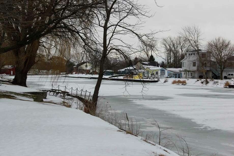 The Sebewaing River along Sebewaing County Park in February. A predicted rise in water levels along the lakeshore has caused the Huron County Road Commission to not rent out some campsites in the park this year. (Robert Creenan/Huron Daily Tribune)