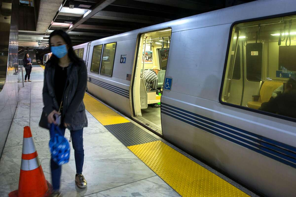 BART is about to depart Embarcadero station. BART is losing up to $600,000 a day from dwindling ridership during the coronavirus outbreak, a crisis for an agency that relies on fares for 60 % of its operating costs. In addition to the losses, the transportation agency is chipping in thousands of dollars for extra cleanings, hand sanitizer dispensaries in all 48 stations, and other protections against the virus. On Friday, March 13, 2020. San Francisco, Calif.