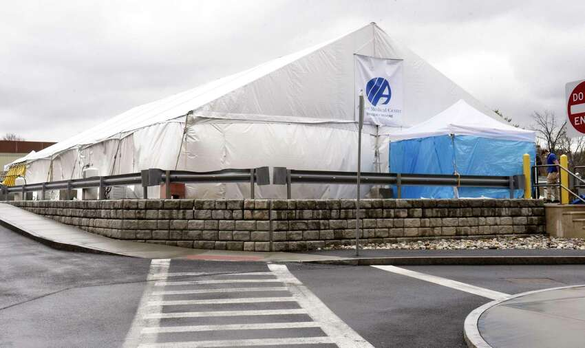 A tent is set up in the rear parking lot of Albany Medical Center as a place to test people for COVID-19, also called the novel coronavirus on Friday, March 13, 2020 in Albany, N.Y. (Lori Van Buren/Times Union)