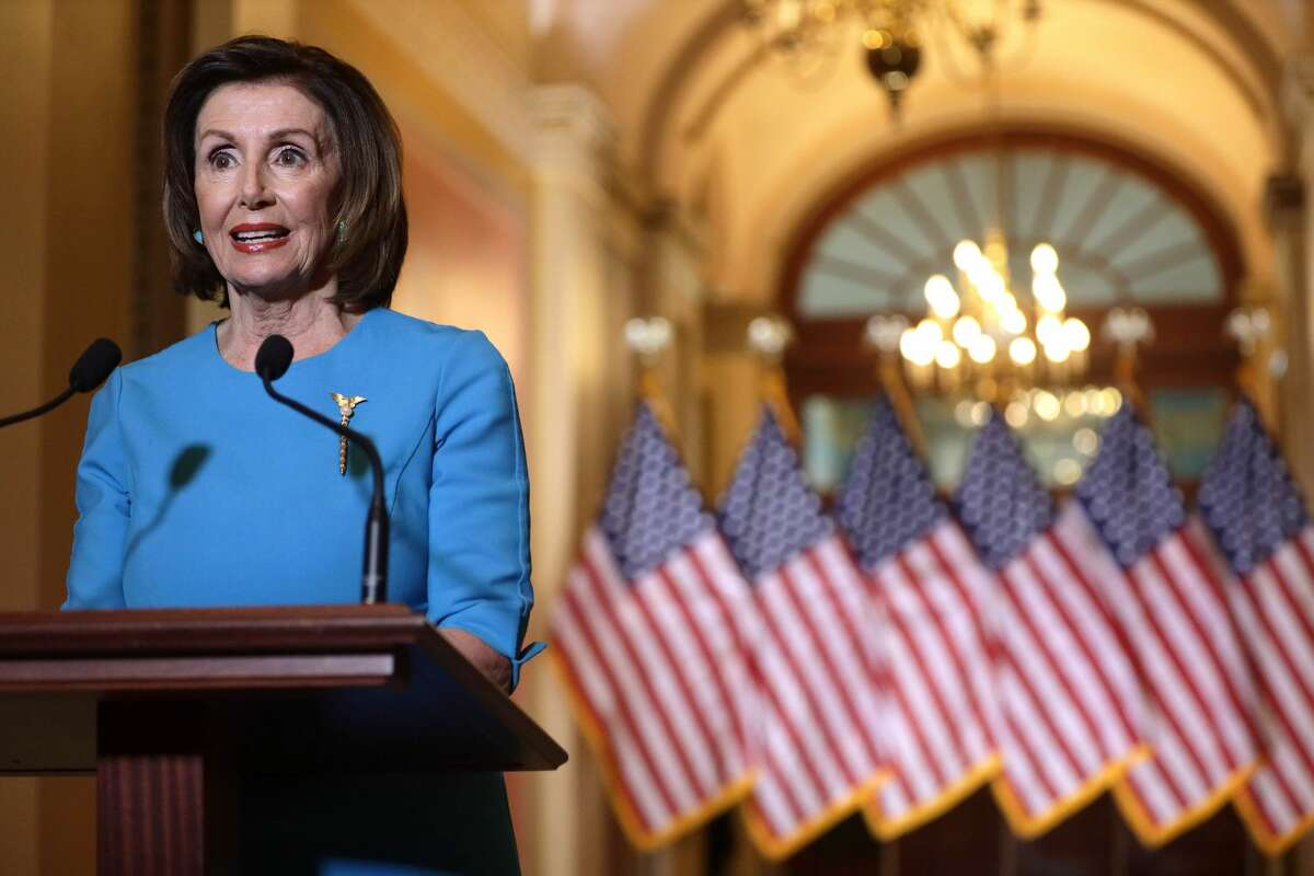 WASHINGTON, DC - MARCH 13: U.S. Speaker of the House Rep. Nancy Pelosi (D-CA) makes a statement at the U.S. Capitol March 13, 2020 in Washington, DC. Speaker Pelosi spoke on the Families First Coronavirus Response Act that the House will vote later on. (Photo by Alex Wong/Getty Images)