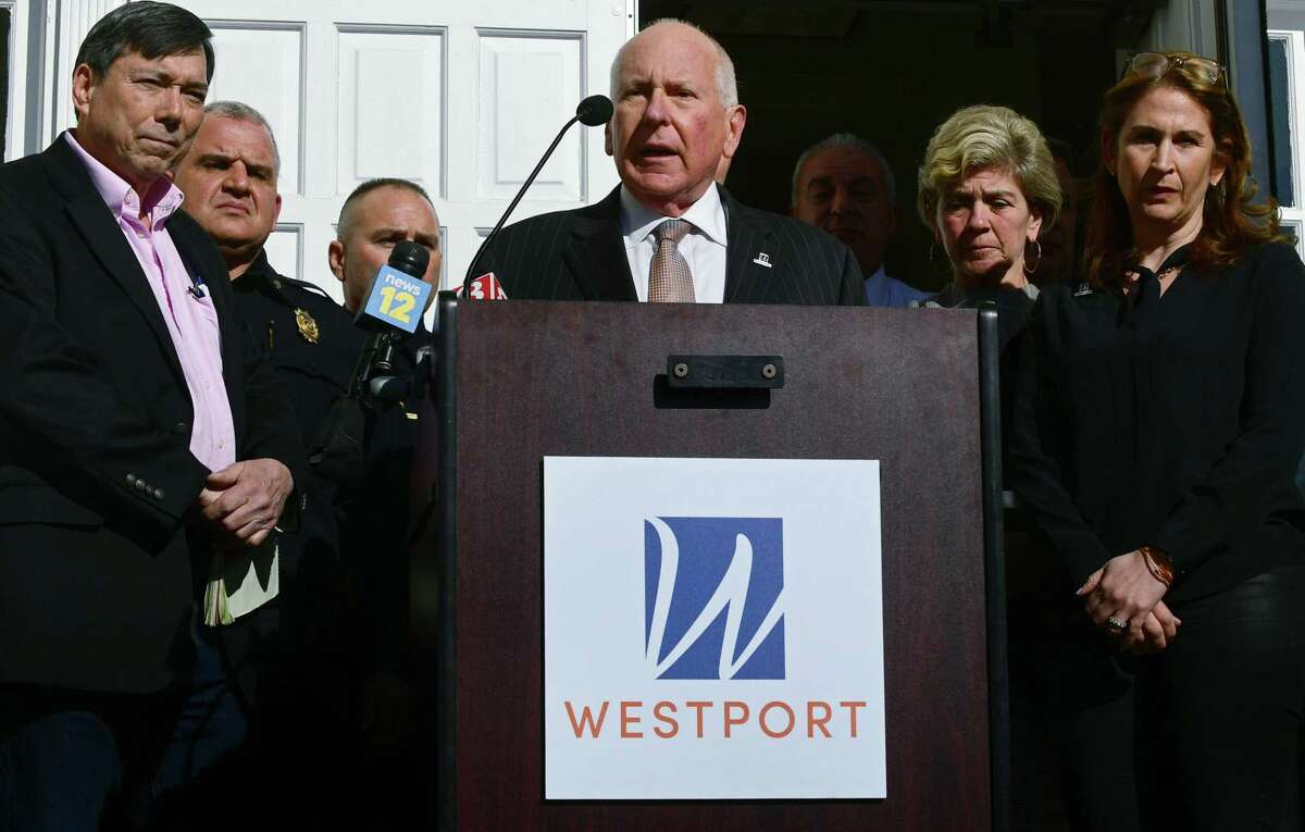 Westport First Selectman Jim Marpe speaks on the announcement that Westport Schools will be closed for the unforeseeable future during a press conference Wednesday, March 11, 2020, at Westport Town Hall in response to the Covid-19 virus pandemic in Westport, Conn.