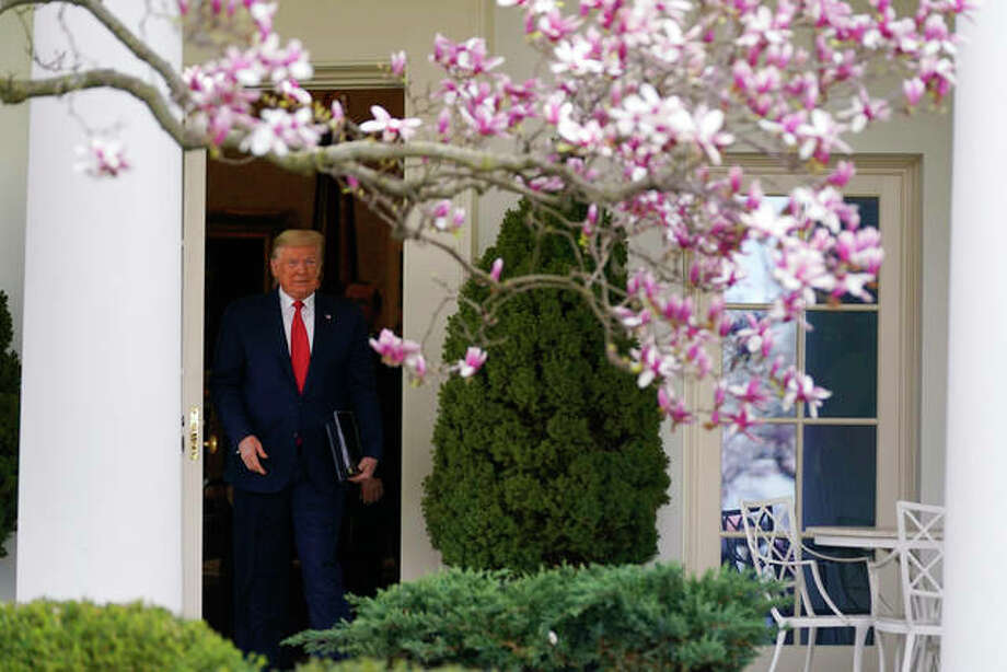 President Donald Trump walks to a news conference about the coronavirus in the Rose Garden of the White House, Friday, March 13, 2020, in Washington. Photo: AP Photo/Evan Vucci