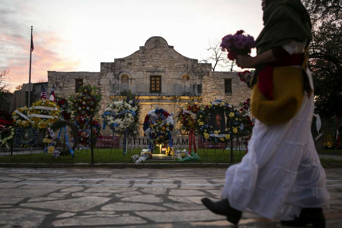 """Wreaths adorn the lawn of the Alamo during the """"Dawn at the Alamo"""" ceremony commemorating the 184th anniversary of the Battle of the Alamo in San Antonio, Texas, March 6, 2020. The early morning battle of March 6, 1836, claiming the lives of was solemnly remembered during the popular annual event."""