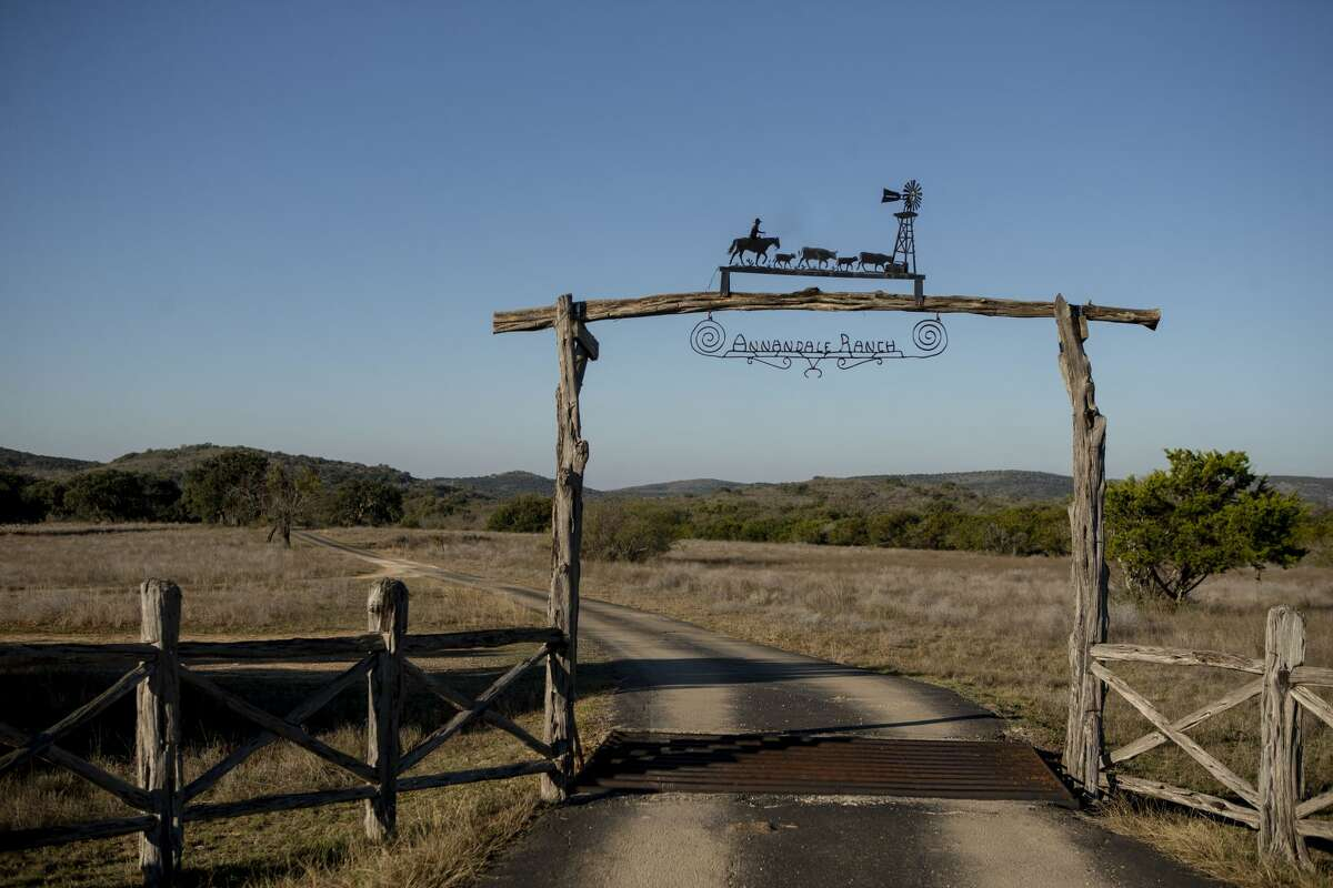 Outside the main gate of the Annandale Ranch in Sabinal, Texas, Feb. 14, 2020.