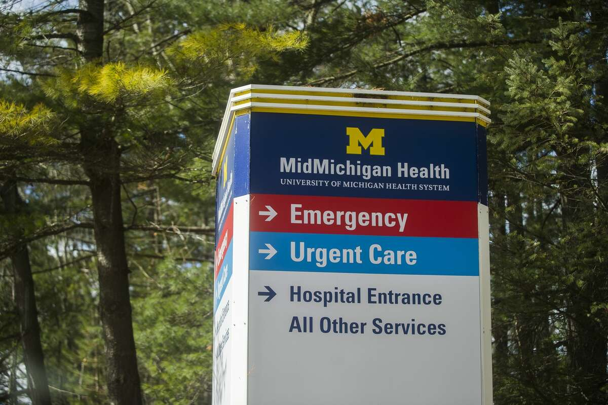 File - MidMichigan Health signage from March 12, 2020.