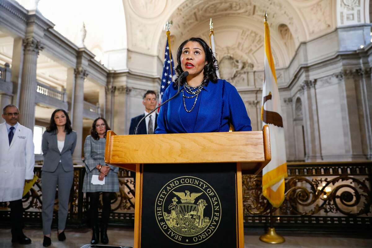 San Francisco Mayor London Breed announces a state of emergency due to the global outbreak of the coronavirus during a press conference at City Hall on Tuesday, Feb. 25, 2020 in San Francisco, California.