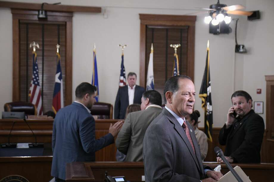 District Judge Joe Lopez addressed Commissioners Court about suspending court activities until further notice because of the Coronavirus alert. Photo: Cuate Santos/Laredo Morning Times