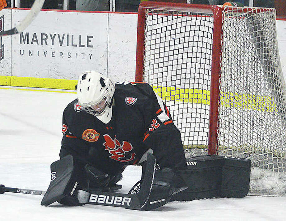 Edwardsville goalie Jonas Akeman makes a save during the 2019-20 season. Edwardsville, which was set to make trip to the USA Hockey High School Nationals March 26-30, but the tournament has been canceled because of the Coronavirus threat.