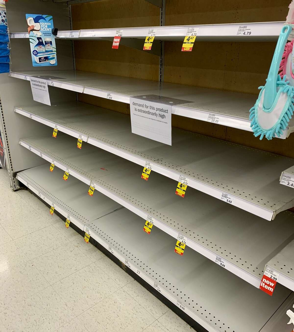 Local stores were selling out of toilet paper and disinfectant products, as well as other items Friday as shoppers prepared for a possible extended quarantine due to the coronavirus.