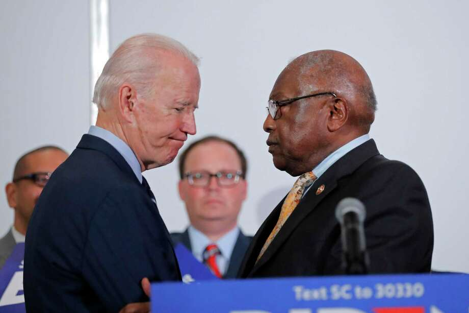 House Majority Whip Rep. Jim Clyburn, D-S.C., right, greets Democratic presidential candidate and former Vice President Joe Biden, as he endorsed him in South Carolina Feb. 26. Photo: Gerald Herbert / Associated Press / Copyright 2020 The Associated Press. All rights reserved.