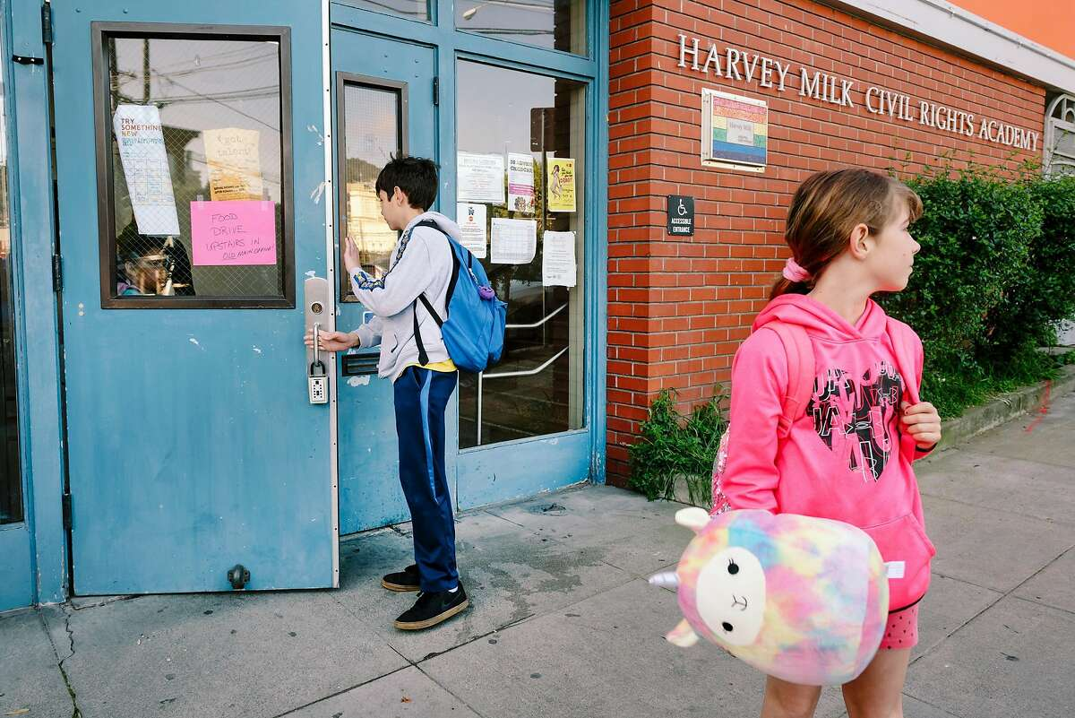 Elias Chechile, 10 years old, left, and his sitter Amalia Chechile, 8 years old, are seen during morning drop-off at Harvey Milk Civil Rights Academy in San Francisco, California, US, on Friday, March 13, 2020.