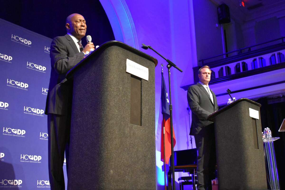 Mayor Sylvester Turner and Houston Professional Fire Firefighters Association President Marty Lancton debate Proposition B, the ballot referendum that granted firefighters pay parity with police officers of corresponding rank and seniority, before the election in 2018. Voters approved the measure, but it was later declared unconstitutional.