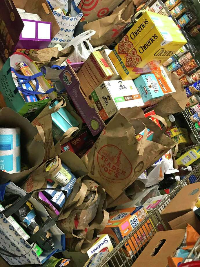 Food collected by Norwalk, Conn., parents, March 13, 2020, in response to school closures as a result of the COVID-19 outbrealk. Photo: Contributed