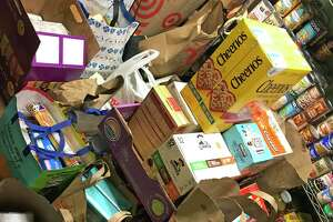 Food collected by Norwalk, Conn., parents, March 13, 2020, in response to school closures as a result of the COVID-19 outbrealk.