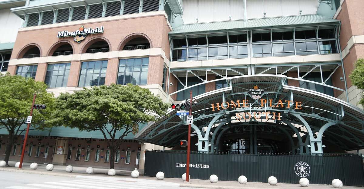 Exterior of Minute Maid Park, in Houston,Thursday, March 12, 2020. MLB announced today that spring training for all teams including the Houston Astros would be suspended, and they would delay the start of the regular season